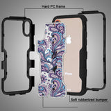 For iPhone XS/X Black Frame+Transparent Purple Flowers Back/Black TUFF Vivid