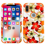 For iPhone XS/X Hibiscus Flower Romance/Orange TUFF Hybrid Protector Case Cover