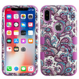 For iPhone X Purple Flowers/Electric Purple TUFF Hybrid Phone Protector Cover