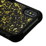 For iPhone XS/X Gold Flakes/Black TUFF Krystal Gel Hybrid Protector Case Cover