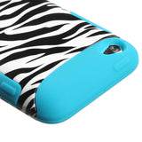 Teal White/Black Zebra TUFF Hybrid Protector Cover Case iPod Touch 4th Gen