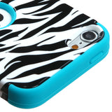 Teal White/Black Zebra TUFF Hybrid Protector Cover Case iPod Touch 5th Gen