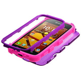 Purple/Pink Impact  Hybrid Protector TUFF Case for KYOCERA Hydro Life/Hydro Icon