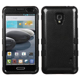 For D500 Optimus F6 Carbon Fiber/Black TUFF Hybrid Phone Protector Cover