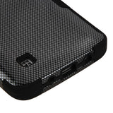 For LG Treasure/Tribute/K7 Carbon Fiber/Black TUFF Hybrid Phone Protector Cover