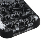 For D415 Optimus L90 Black Lace Flowers (2D Silver)/Black TUFF Hybrid Case Cover