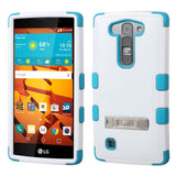 For LS751 Volt 2 Natural Ivory White/Tropical Teal TUFF Hybrid Case Cover +Stand
