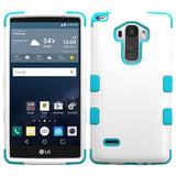 For LS770 G Stylo Natural Ivory White/Tropical Teal TUFF Hybrid Phone Case Cover
