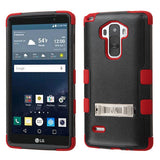 For LS770 G Stylo Natural Black/Red TUFF Hybrid Phone Case Cover (with Stand)
