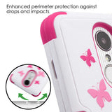 For LG K4/Phoenix 3/K8/Aristo Butterfly Dancing/Hot Pink Protector Cover w/Stand