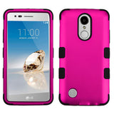 For LG K4/Fortune/K8/Phoenix 3 Titanium Solid Hot Pink/Black TUFF Hybrid Cover