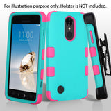 For LG Rebel K4 K8 Fortune Rubberized Teal Green/Electric Pink Protector Cover
