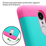 For LG K4/Phoenix 3/K8/Aristo Teal Green/Pink TUFF Trooper Hybrid Protector Case