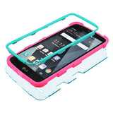For LG Stylo 3/Plus Rubberized Teal Green/Electric Pink TUFF Hybrid Phone Cover