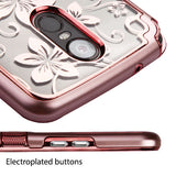 For LG Stylo 3/Plus Metallic Rose Gold Hibiscus TUFF Panoview Hybrid Case Cover