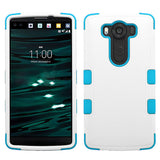 For LG V10 Natural Ivory White/Tropical Teal TUFF Hybrid Phone Protector Cover