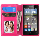 For Lumia 435 Hot Pink MyJacket Wallet +Tray Protector Cover Case
