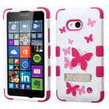 For Lumia 640 Butterfly Dancing/Hot Pink TUFF Hybrid Case Cover (+Stand)