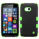 For Lumia 640 Rubberized Black/Electric Green TUFF Hybrid Case Cover