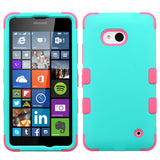 For Lumia 640 Rubberized Teal Green/Electric Pink TUFF Hybrid Case Cover