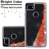 For Google Pixel 2 XL Hearts & Red Quicksand Glitter Bling Protector Case Cover