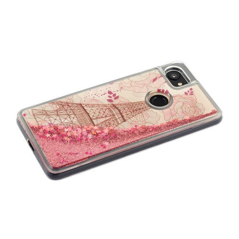 8dd6181b2f0 ... For Google Pixel 2 XL Eiffel Tower Rose Gold Stars Quicksand Glitter  Case Cover ...