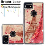 For Google Pixel 2 XL Eiffel Tower Rose Gold Stars Quicksand Glitter Case Cover