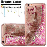 For iPhone 6/6s Eiffel Tower/Pink Hearts Quicksand Glitter Hybrid Protector Case