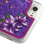 For iPhone 8 7 6s 6 Purple Lillies/Purple Confetti Flashing LED Quicksand Case