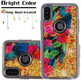 For iPhone XS/X Electric Hibiscus & Gold Quicksand Glitter Bling Hybrid Case