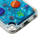 For iPod 6th 5th Generation Planets in Space & Blue Quicksand Glitter Case Cover