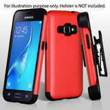 For Samsung Galaxy Express 3/J1 Red Glossy/Black Impact Armor Protector Cover