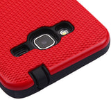 For Samsung Galaxy Express Prime/J3 Red Silk Lines/Black Hybrid Protector Cover