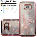 For Samsung Galaxy S8 Electroplating/Eiffel Tower/Silver Quicksand Glitter Cover