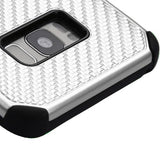 For Samsung Galaxy S8 Silver Mat Weave/Black Hybrid Impact Protector Case Cover