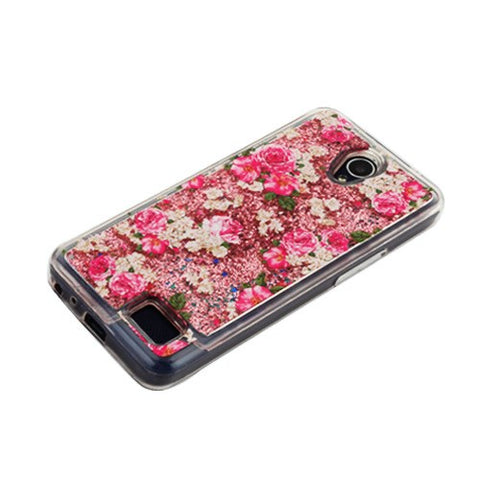 For ZTE Maven 3 Avid Plus Cheers Rose & Rose Gold Quicksand Glitter Case  Cover