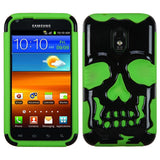For Epic 4G Touch Solid Black/Electric Green Skullcap Hybrid Case Cover