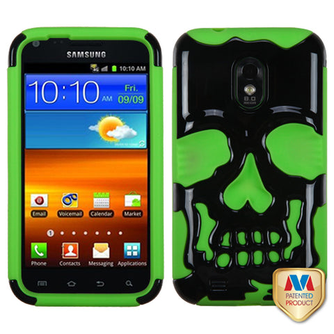 Solid Black/Electric Green Skull