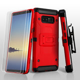 For Samsung Galaxy Note 8 Red/Black 3-in-1 Kinetic Hybrid Protector Cover Combo