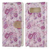 For Samsung Galaxy Note 8 Fresh Purple Flowers Diamante MyJacket Wallet Cover
