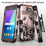 For Samsung Galaxy J3/Emerge/Sol 2 Black Lace Flowers 2D Rose Gold Hybrid Cover