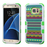 For Samsung Galaxy S7 Edge Tribal Sun/Green TUFF Hybrid Phone Protector Cover
