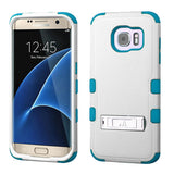 For Samsung Galaxy S7 Edge Natural Ivory/Teal TUFF Hybrid Phone Cover w/Stand