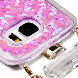 For Samsung Galaxy S7 Light Purple Liquid Glitter Diamond Perfume Bottle Cover