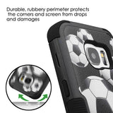 For Samsung Galaxy S7 Soccer Ball/Black/Black TUFF Hybrid Protector Cover