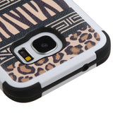 For Samsung Galaxy S7 Zebra-Leopard/Black TUFF Hybrid Protector Cover w/Stand