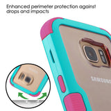 For Samsung Galaxy S7 Natural Teal Frame/Electric Pink TUFF Vivid Hybrid Cover