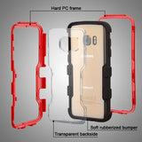 For Samsung Galaxy S7 Natural Red Frame/Black TUFF Vivid Hybrid Protector Cover