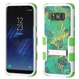 For Samsung Galaxy S8 Leaves/Electric Green TUFF Hybrid Protector Cover w/Stand