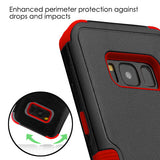 For Samsung Galaxy S8 Natural Black/Red TUFF Hybrid Protector Cover (with Stand)